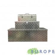 TRIS BOX ALLUMINIO GRANDE MEDIO E PICCOLO CASSETTE PORTA ATTREZZI 124X38,5X38 76X33,5X25 58X24,5X22 CM